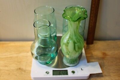 Collection Of Three Green Glassware Vases