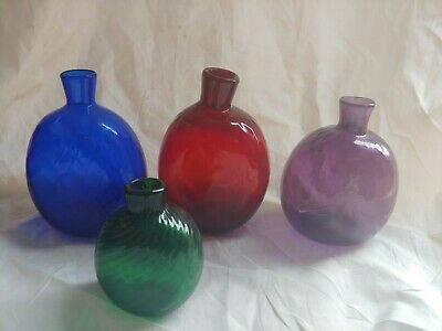 Group of Four Contemporary Mold Blown Pairpoint Glass Flasks