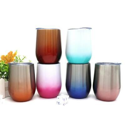 12oz Metal Stainless Steel Wine Glass Tumbler Double Wall Insulated Gradient Cup