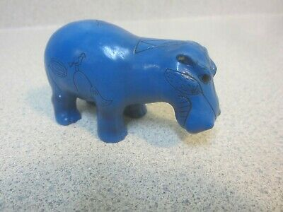 Ancient Egyptian Blue Hippopotamus of Nile River Small Figurine Statue 3 inches