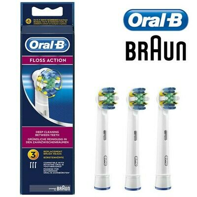 3 x Braun Oral-B FLOSS ACTION Electric Toothbrush Replacement Brush Heads Cross