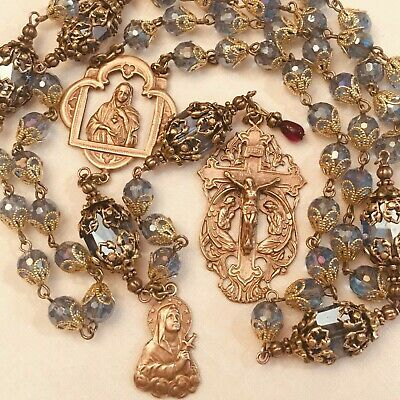 Rosary Immaculate Heart Of Mary 8Mm Crystal Blue Bronze French Bronze Handmade