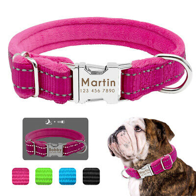 Personalised Dog Collars Plush Padded Reflective Pet Name ID Tags Pink Blue S-L