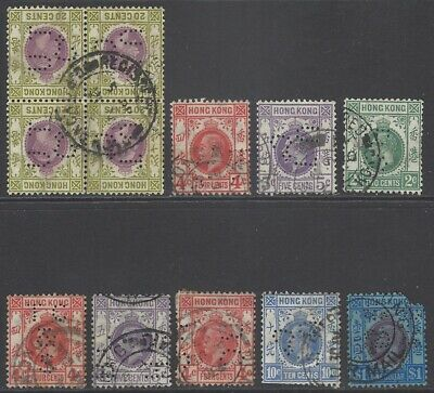 HONG KONG collection early stamps all PERFIN used incl block
