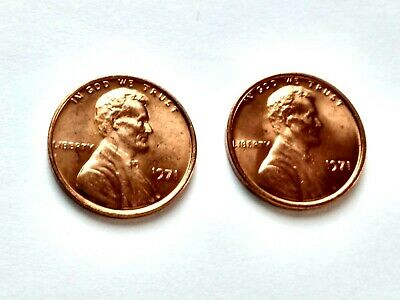 1971 Lincoln Memorial Cent Penny Blazing Red Lot of 2 US Coins