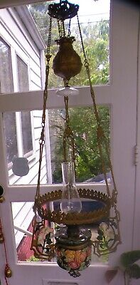 1800's Large Hanging oil lamp Chandelier Bronze Brass Porcelain