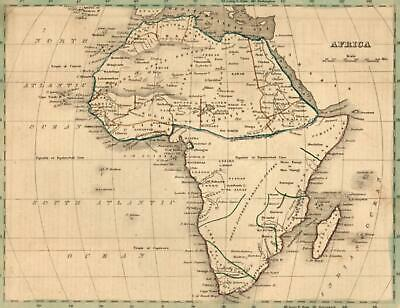 Africa with apocryphal Mts. of the Moon shown 1835 Bradford map early American