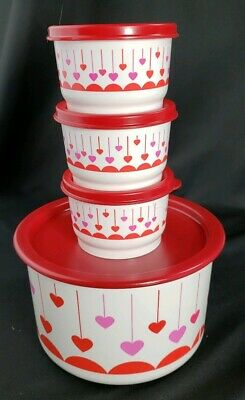 Tupperware Canister & 3 SNACK CUPS Red Seal NEW Lucky in Love Hearts