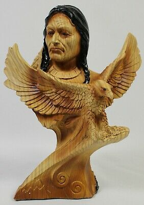 American Bald Eagle & Native Brave Faux Wood Carving Figurine Statue West NEW
