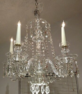 Stunning Vintage   1940's  crystal chandelier by Lightolier .  Fully Restored