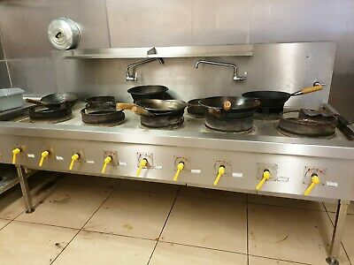 Commercial Gas Cooker Work Table Chinese Indian 9 Burner Ring Style Burner