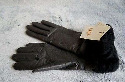 UGG LONG GLOVES WITH CUFFS,  WOMENS: MEDIUM , Color: BLACK U1029