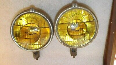 "Vintage B-L-C 5 3/4"" 2002-D Driving / Fog Lights Amber Lens Pair Hot Rat Rod (E)"