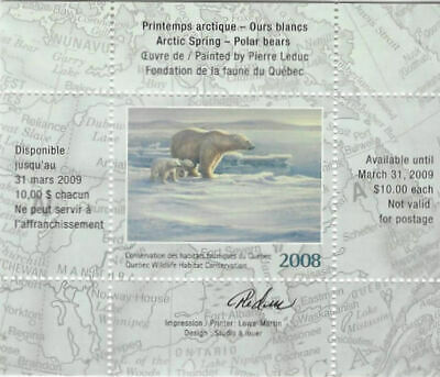 2008 Canada Quebec  Wildlife Habitat Conservation  -DQ56s  signed  Mint NH