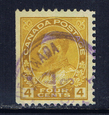 Canada #110(5) 1922 4 cent olive bistre King George V Used CV$6.00