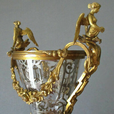 Antique French GILT Bronze URN Silver FILIGREE Inside ROSE Swags ANGEL Handles