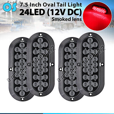 "4 X Smoked Lens Red 24 LED 6"" Oval Stop Brake Tail Light Tailgate Truck Boat 12V"