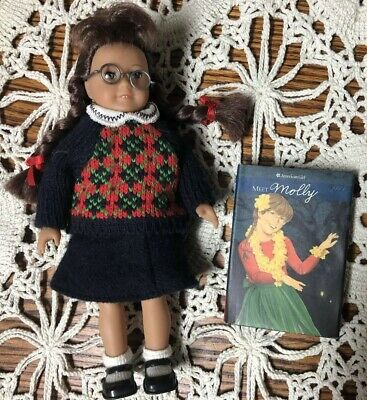 American Girl Molly Mini Doll With Meet Outfit Glasses & Book Soft Body Edition