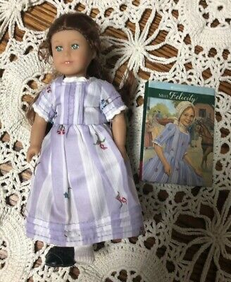 "American Girl 6"" MINI Felicity Soft Body Doll in Purple dress Outfit with Book"