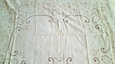 "Madeira Richelieu embroidered linen tablecloth 64"" x 80"" needs TLC repair vtg"