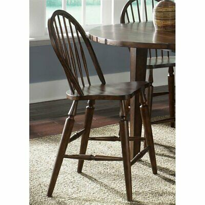 """Liberty Furniture Cabin Fever 24"""" Windsor Back Counter Stool in Brown"""