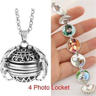 Folding Vintage Photo Memory Locket Pendant Clover Heart Necklace Gift for Lover