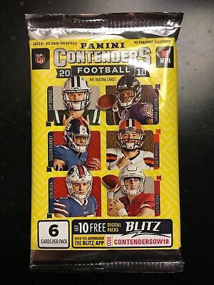 HOBBY 2018 Panini Contenders Football Brand New (1) Factory Sealed Pack From Box