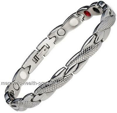 LADIES STAINLESS STEEL MAGNETIC BRACELET 4in1 ENERGY ARTHRITIS PAIN RELIEF 329