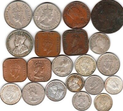 21 different world coins from BRITISH MALAYA many silver