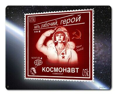 VINTAGE STYLE METAL SIGN Pinup Girl  Cosmonaut Stamp  15 x 12