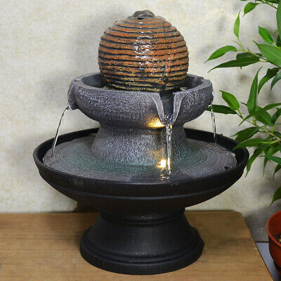 Stone Ball Round Water Fountain With Light Perfect Indoor Water Feature