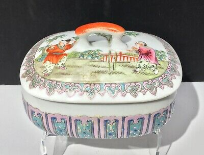 A 19th c. Antique Chinese Enameled Porcelain Box with Boys Playing
