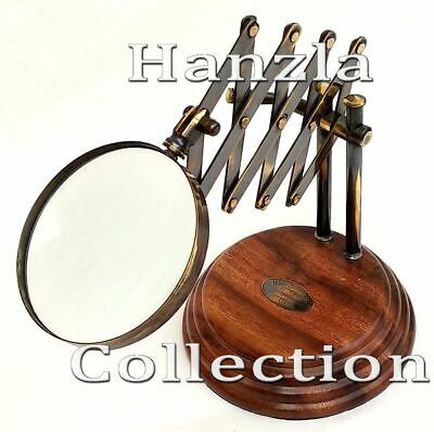 Desktop Magnifying Holzsockel Glass Messing Lupe Weinlese Antike Stil Brass auf