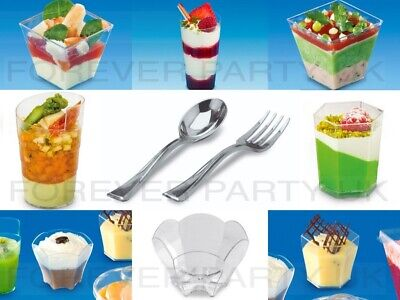 Mini Plastic Dessert Cups Shapes Quality Sample Shot Canape Jelly Mousse Spoon