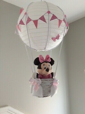 Minnie mouse theme hot air balloon nursery light shade,