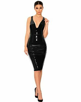 Top Totty Sexy Black Gothic Dominatrix Zipper Back Faux Leather Dress