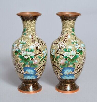 A Good Pair Of Large Heavy Vintage Chinese Cloisonne Vases