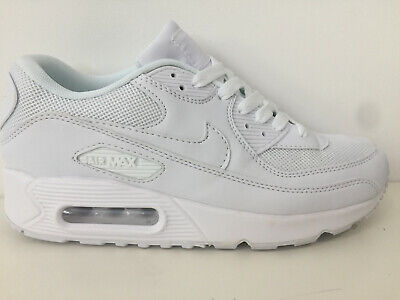 online retailer 633bf 1cbae Mens Nike Air Max 90 Trainers All White Gym Shoes Brand New Boxed Adult  Sized