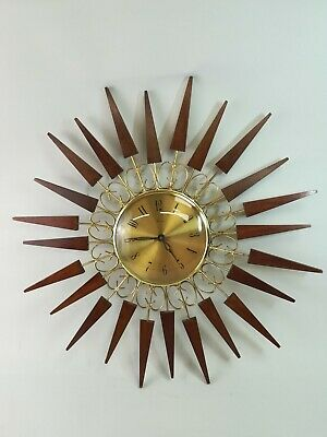 Vintage Paico Retro Art Deco Teak Brass Sunburst Starburst Wall Clock 60s 70s