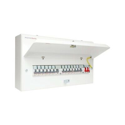 12 Way Dual RCD metal Clad Home Safe Consumer Unit Fuse Board High Integrity