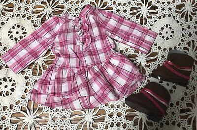 American Girl Doll Retired Pink Plaid Western Cowboy Cowgirl Dress Outfit Boots