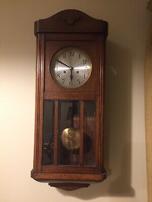 Oak Cased Wall Clock WIND, PENDULUM & KEY, Dated 1920's