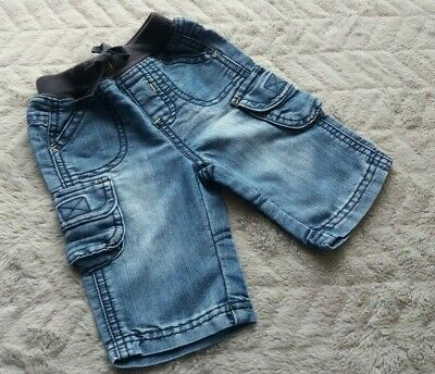 Baby Boys Cotton Wiped Denim Elastic Waist Jeans (0-3 Months) - By Mothercare