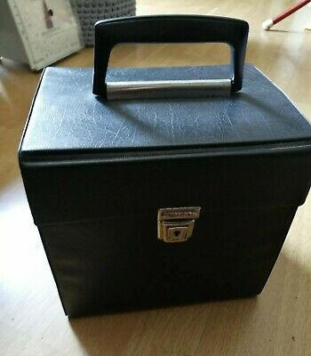 BLACK RECORD BOX FOR 7 INCH VINYL RECORDS ORIGINAL 1960s  IN GREAT CONDITION