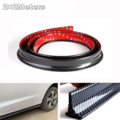 2Pcs 2M Car Side Skirt Fender Protective Trim Strip Carbon Fiber Look Universal