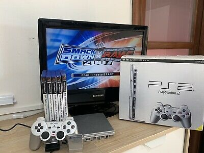 ps2 slim silver scatola console play station controller + 5 giochi memory 8mb