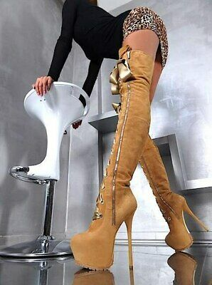 italian leather 👠 High Heels Over Knee Boots 1969 Made In Italy 39