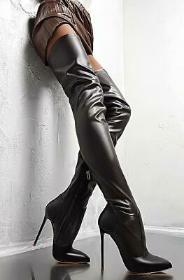 italian leather 👠 High Heels Over Knee Boots 1969 Made In Italy 41