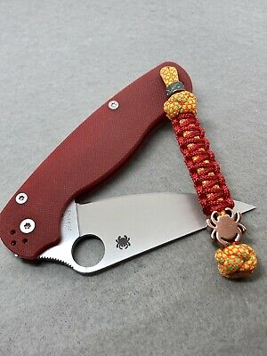 550 Paracord Combo Knife Lanyard Citrus Dream And Red With Brass Spyderco Bead