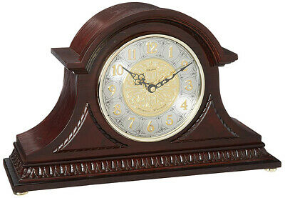 Seiko Tambour Analog Quartz Solid Oak Case Chiming Mantel Clock QXJ003BLH
